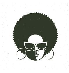 Front view portrait a black woman face vector