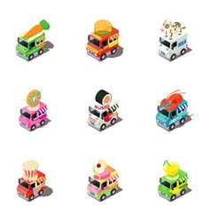 Funny car icons set isometric style vector