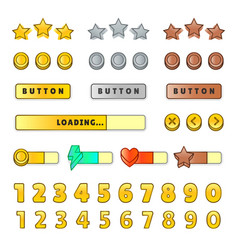 Game graphical user interface gui design buttons vector