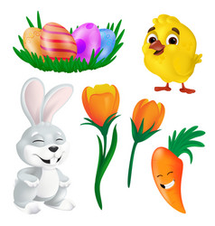 happy easter design elements set spring bunny vector image