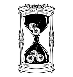 Hourglass with eyeballs halloween sticker print vector