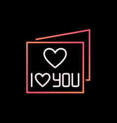 I love you card colored thin line icon vector