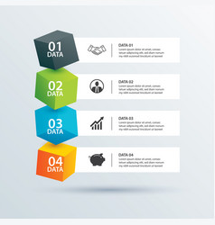 Infographics box square with 4 paper data vector