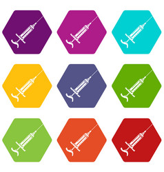 Injector icons set 9 vector