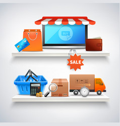 Items on shelves composition vector