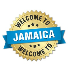 Jamaica 3d gold badge with blue ribbon vector