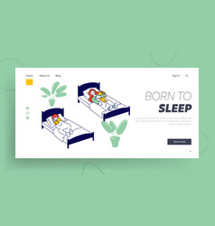 kids rest and relaxing snooze in bedchamber vector image