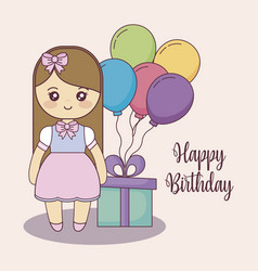 little girl with gift box and balloons helium vector image