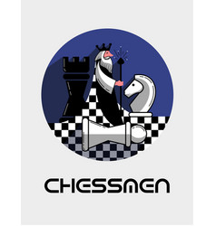 logo game chess in a flat style vector image