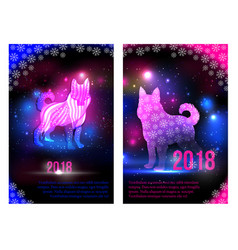 Magic dogs 2018 new year brochures design for vector