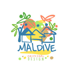 Maldive island logo template original design vector