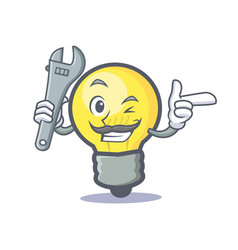 mechanic light bulb character cartoon vector image