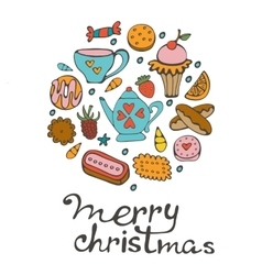 Merry Christmas card with hand drawn sweets and vector image