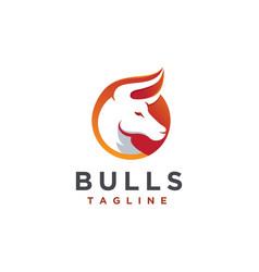 modern geometric bull logo icon template vector image