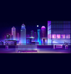 Modern megapolis at night urban town architecture vector