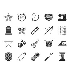 Needlework black silhouette icons set vector