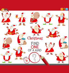 One a kind task with santa claus characters vector