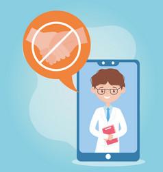 Online health smartphone doctor avoid contact vector