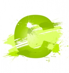 paint splashes font letter c vector image