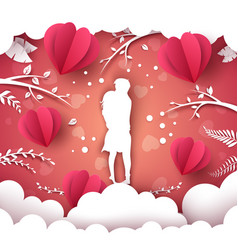 paper air balloon valentine day vector image