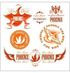 Phoenix - set of fire birds and flames logo vector