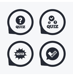 Quiz icons Speech bubble with check mark symbol vector image