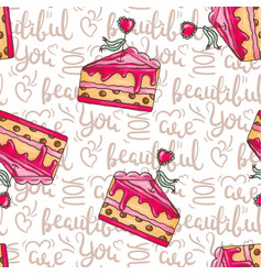 Romantic cakes seamless pattern with vector