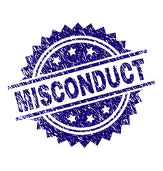 Scratched textured misconduct stamp seal vector