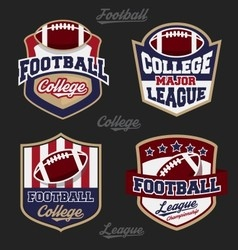 Set football college league badge logo vector