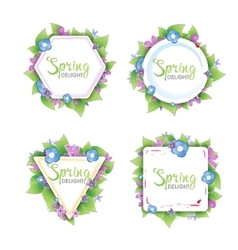 Set of floral spring banners vector image