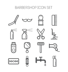 Set of simple monochromatic barbershop icons vector image