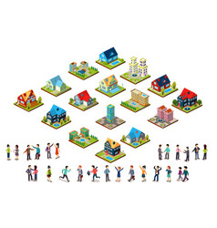 set urban isometric houses and groups of vector image
