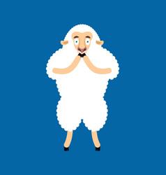 Sheep scared omg ewe oh my god emoji frightened vector