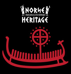 Ship drakkar with ancient runic vector