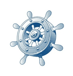 Ship wheel marine tattoo vector