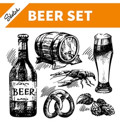 sketch oktoberfest set beer vector image