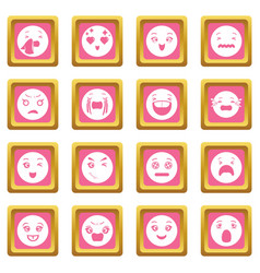 smiles icons set pink square vector image