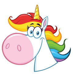 smiling magic unicorn head vector image