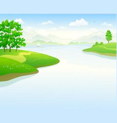 summer lake landscape vector image