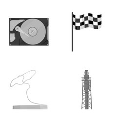 Technology travel and other monochrome icon in vector