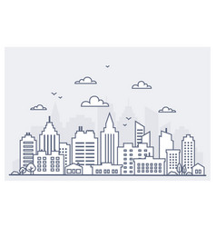 Thin line city landscape downtown landscape vector
