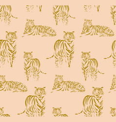 tigers outline pattern hand-drawn doodle animal vector image