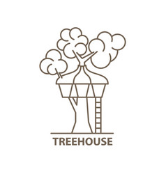 treehouse in linear vector image