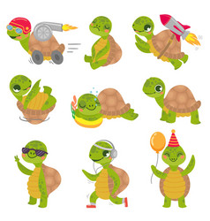 turtle child cute little green turtles mascot vector image