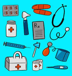 Various pieces of medical equipment vector