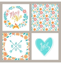 wedding set invitation cards with flowers and vector image