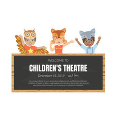 Welcome to children theatre banner template vector