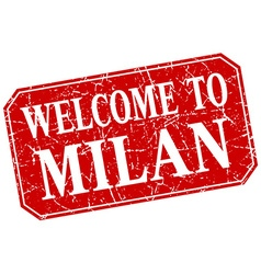 Welcome to Milan red square grunge stamp vector