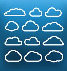 White cloud icons clip-art on color background vector