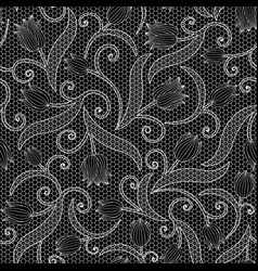 White lace seamless pattern with tulips on black vector